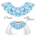 Vector design for collar t-shirts and blouses. Colorful ethnic flowers neck line. Embroidery for Fashion