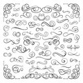 Vector Design Decorative Elements Set, Isolated on White Swirly Lines Collection, Filigree, Page Decorations. Royalty Free Stock Photo
