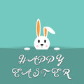 Vector design with Eastern hiding Bunny and text Happy Eastern. Card for celebration.