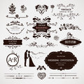 Vector design elements and calligraphic page decor decorations for wedding Stock Image
