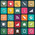 Vector design flat icons for web and mobile application set in with long shadows eps Stock Image