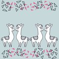 Alpaca or llamas on blue background ,hand drawing abstract elements