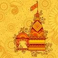 Vector design of hindu temple Happy Dussehra