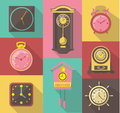 Vector design icon set of vintage wall clocks Royalty Free Stock Photo