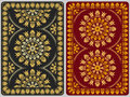 Vector design playing cards with floral ornament golden vintage Royalty Free Stock Image