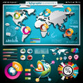 Vector design set of infographic elements world m map and information graphics on mobile phone Stock Image