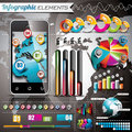 Vector design set of infographic elements world map and information graphics on mobile phone Stock Photo