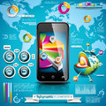Vector design set of infographic elements world map and information graphics on mobile phone Royalty Free Stock Images