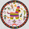 Vector design in circular ornament_4_on Mexican theme of Cinco de mayo celebration in flat style
