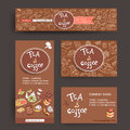 Vector design template for coffe and tea shop or cafe. Site head
