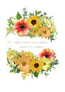 Vector design vertical card, bouquet element collection. Yellow