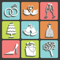 Vector design wedding flat icons for web and mobile set of items Royalty Free Stock Photography