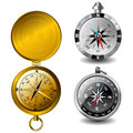 Vector detailed compasses gold and silver Stock Photo