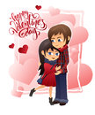 Vector detailed flat valentines day card with hugging couple and lettering on hearts background