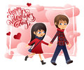 Vector detailed flat valentines day card with walking holding hands couple and lettering on hearts background