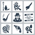 Vector detective icons set man under street lamp magnifier and handprint knife in hand smoking pipe crime scene Stock Photography