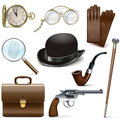 Vector Detective Icons Royalty Free Stock Photo