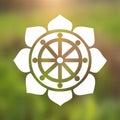 Vector Dharma Wheel in Lotus Flower on a Cosmic Background