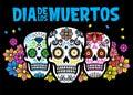 Dia de los muertos design with three sugar skull Royalty Free Stock Photo