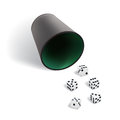 Vector dice gambling template. White cubes with dice cup on white background.