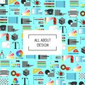 Vector digital art design icons background with place for text Royalty Free Stock Photo