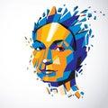 Vector dimensional low poly female portrait, graphic illustratio