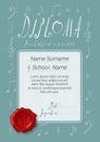 Vector diploma certificate for kids