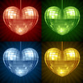 Vector Disco ball in the shape of heart Stock Photo
