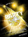 Vector Disco Party Flyer Design with  ball on shiny background. Eps10 illustration. Royalty Free Stock Photo