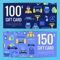 Vector discount or gift card voucher templates with car wash flat icons