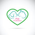 Vector of an dog and cat in the heart on white background. Pet
