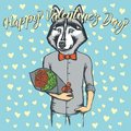 Vector dog with flowers celebrating Valentines Day