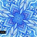 Vector doily watercolor vector gzhel pattern. Decorative white a