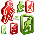 Vector don't walk and walk signs. Royalty Free Stock Photo