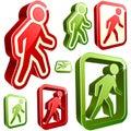 Vector don't walk and walk signs. Royalty Free Stock Photo