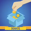 Vector donate concept hand putting coins in the box Stock Image