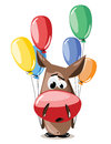 Vector donkey with balloons illustration cartoon personage Royalty Free Stock Photos
