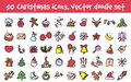 Vector doodle christmas icons set