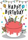 Vector doodle Cute cat and dog with cake for Happy Birthday card, have space for text