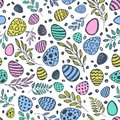Vector doodle Easter seamless pattern. Colorful watercolor, ink illustration of easter eggs and leaves