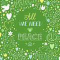 Vector doodle green love and peace theme background with quote a Royalty Free Stock Photo