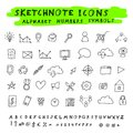 Vector doodle icons alphabet and symbols set skethnote collection Royalty Free Stock Photos