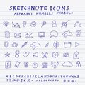 Vector doodle icons alphabet and symbols set skethnote collection Stock Photos