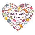 Vector doodle  illustration of sewing and needlework in heart sh Royalty Free Stock Photo