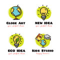 Vector doodle logo collection. Funny cartoon style symbols.