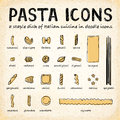 Vector Doodle Pasta Icons Royalty Free Stock Photo