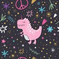 Vector doodle pattern, cute dinosaur art. Textile or wrapping paper design