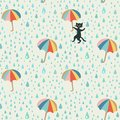 Vector doodle pattern with rain drop, flying umbrellas and mischievous black cat. Beautiful abstract pattern, season