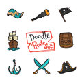 Vector doodle pirate icons set. Hand drawn collection of seaman objects