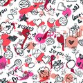Vector doodle romantic seamless pattern. Design for fashion textile print, wrapping, valentines day backgrounds.